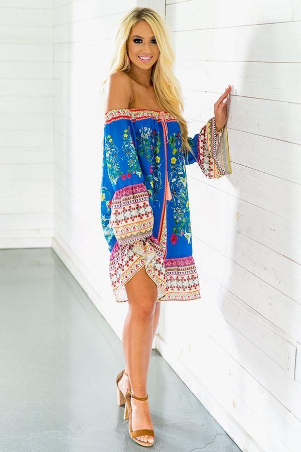 Cabana Babe Off Shoulder Shift Dress