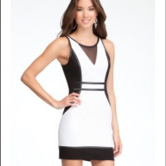Bebe Mesh Yoke Color Block Dress Black And White Products