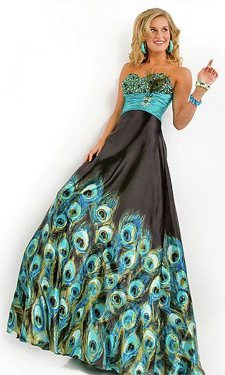 Long Strapless Peacock Print Dress - could do with out the top being so over done... but just for fun!!!