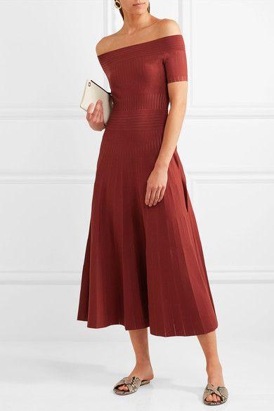 Barbara Casasola - Off-the-shoulder Paneled Stretch-knit Midi Dress - Merlot - IT36