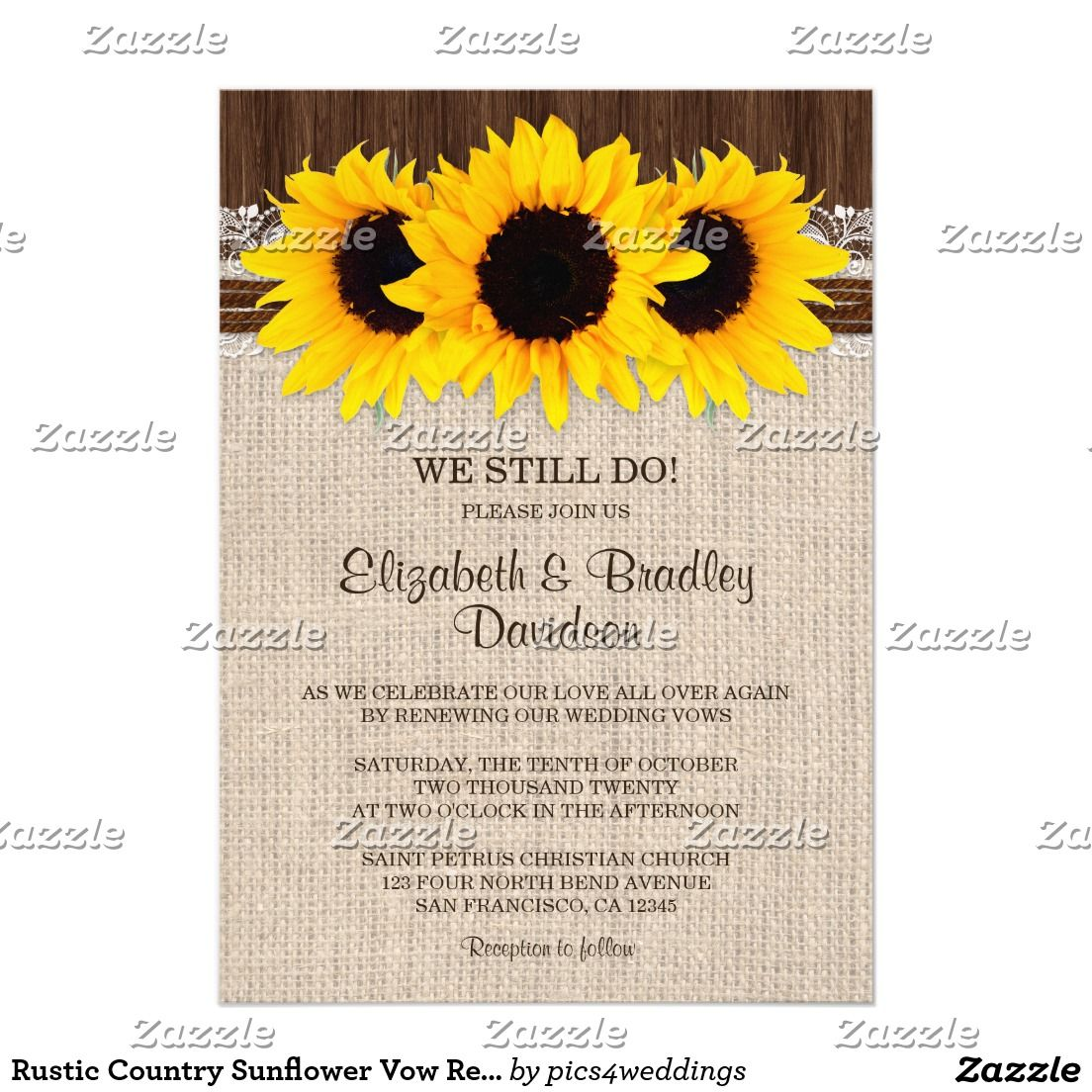Rustic Country Sunflower Vow Renewal Reaffirmation Card | Rustic ...