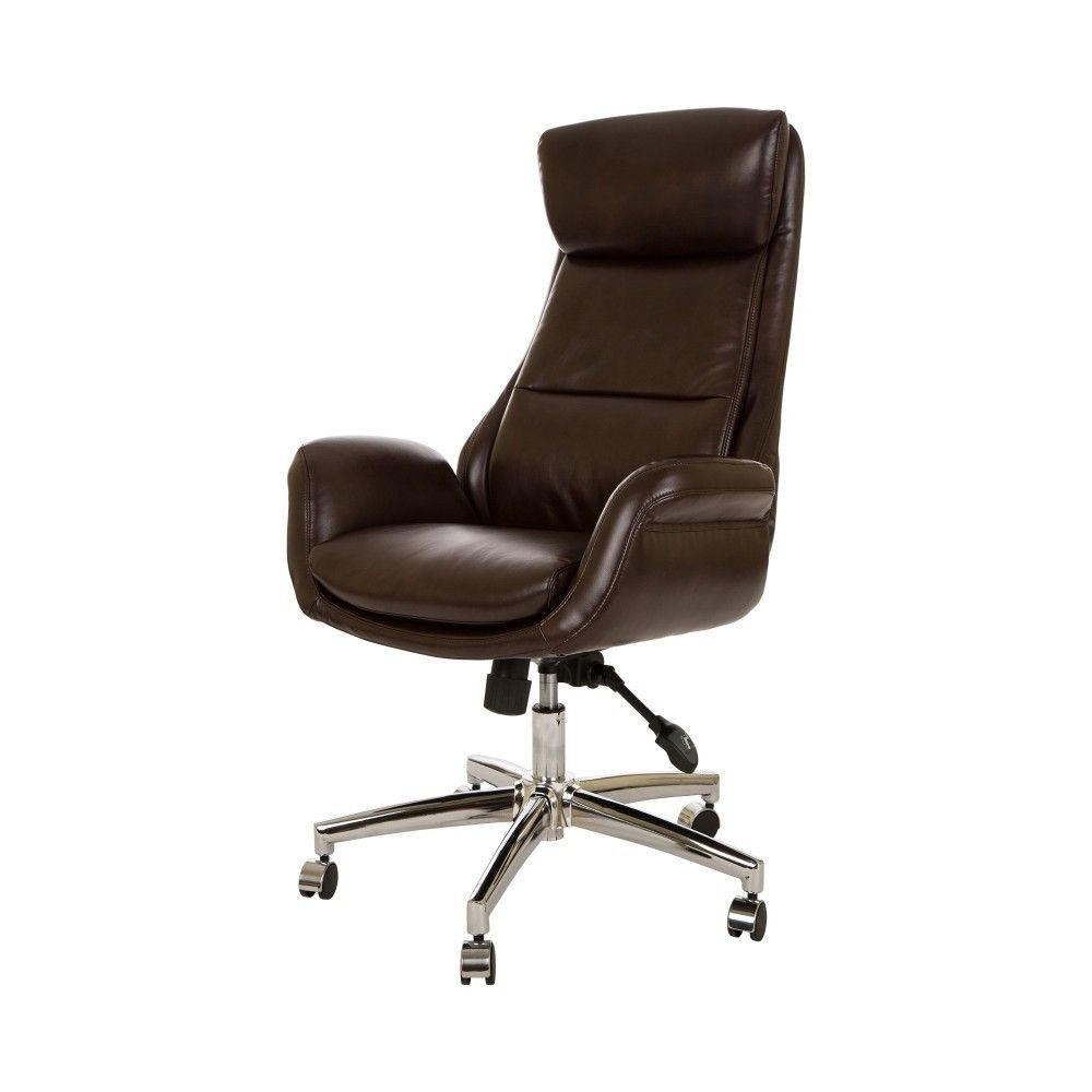 Glitzhome Mid Century Modern Leatherette Gaslift Office Chair In