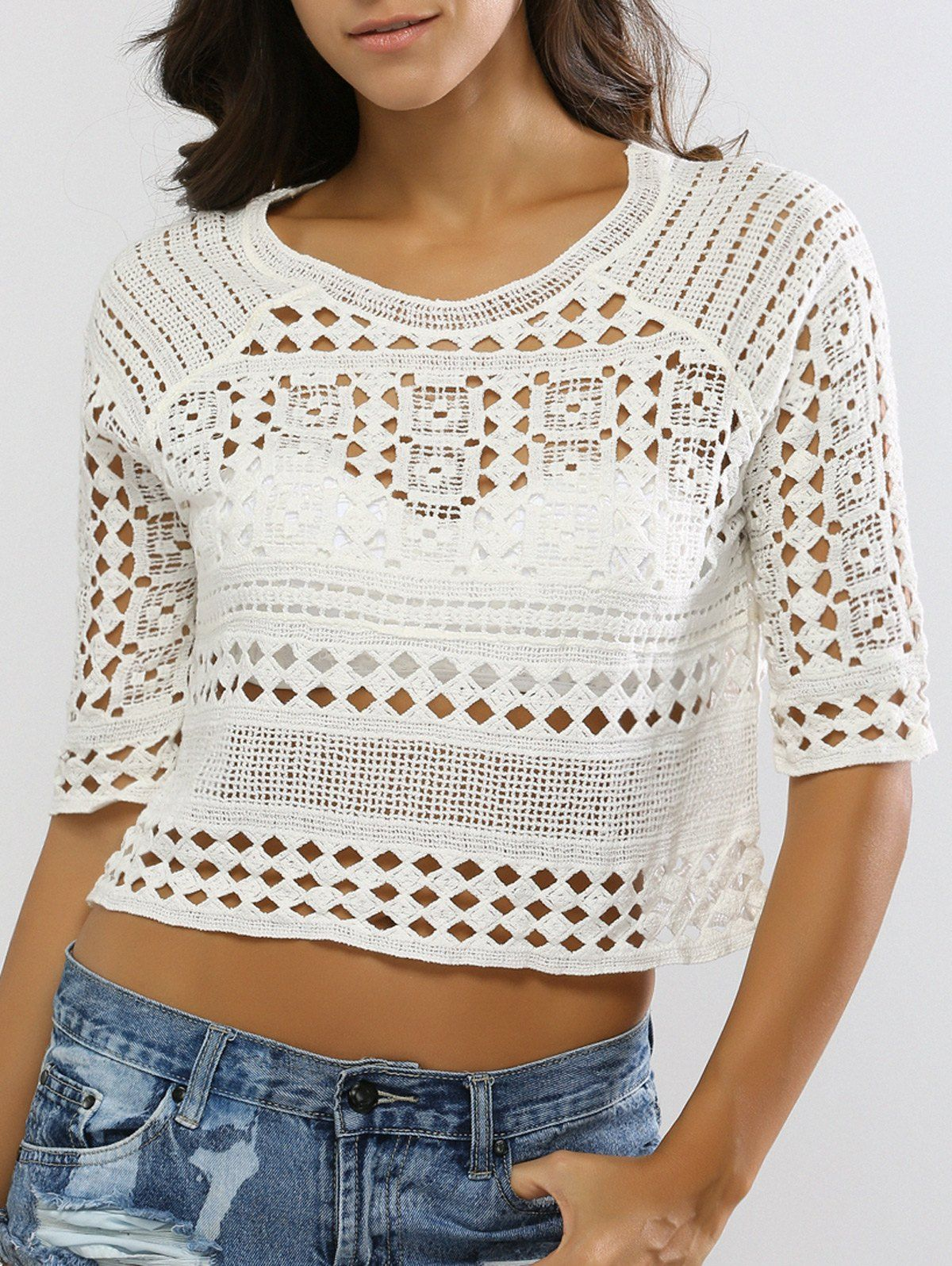 Crop Top   Hollow Out Crochet Knit Crop Top #fashion #style #croptop #crochet