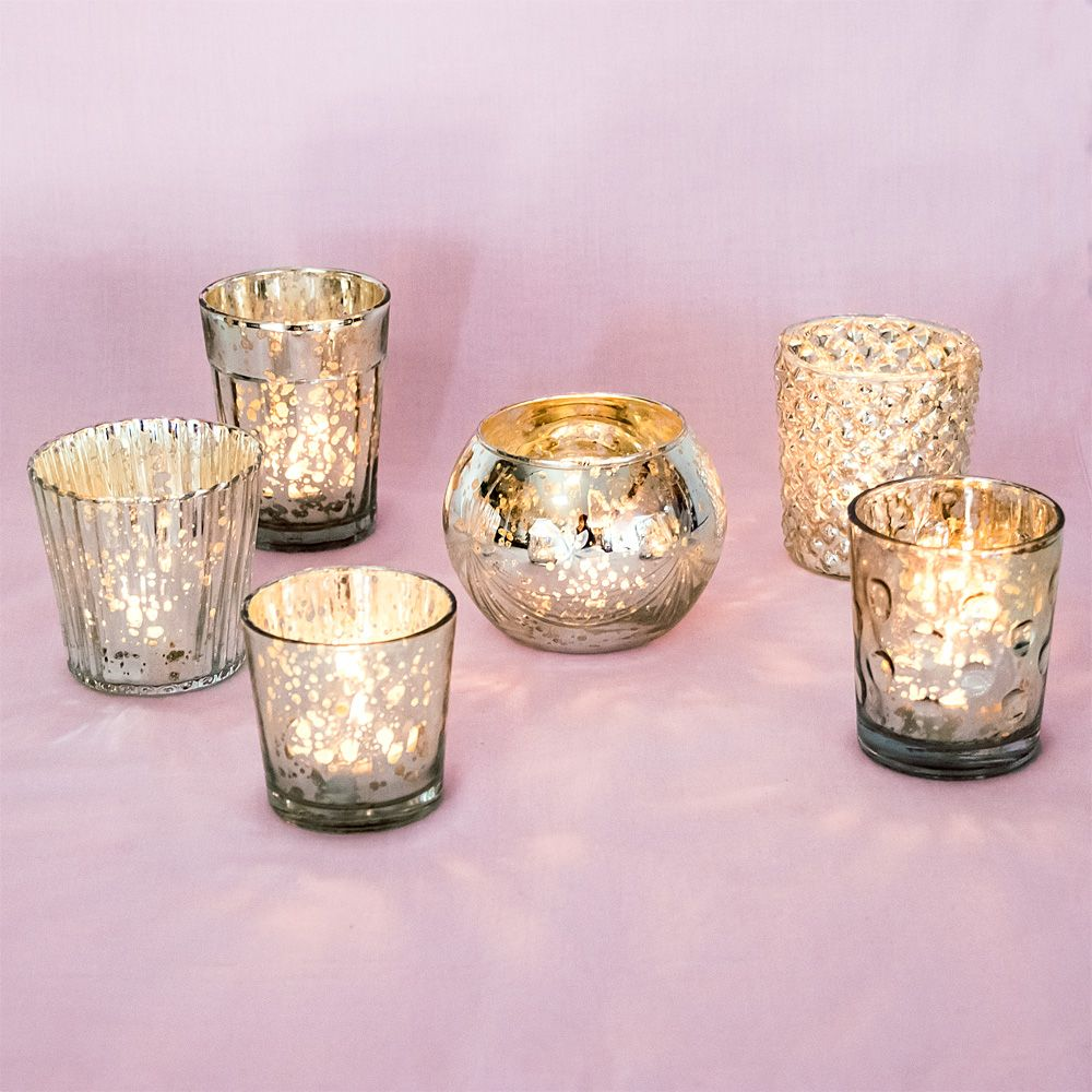 Best of mercury glass tea light candle holders antiqued silver set