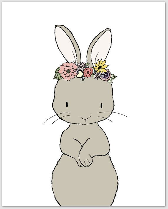 Nursery Art Bunny Fl Crown By Sweetmelodydesigns On Etsy
