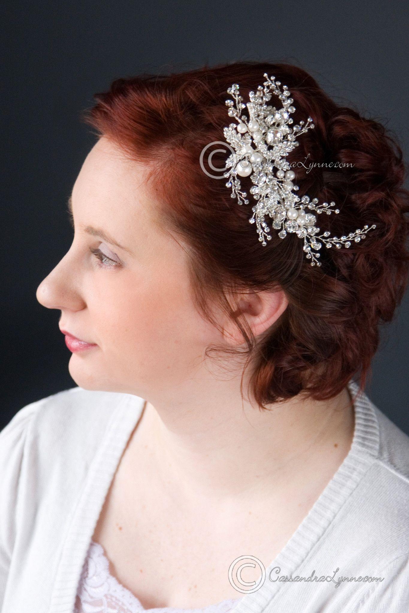 Bridal Headpiece Clip of Jewel Sprays and Pearls Headpieces
