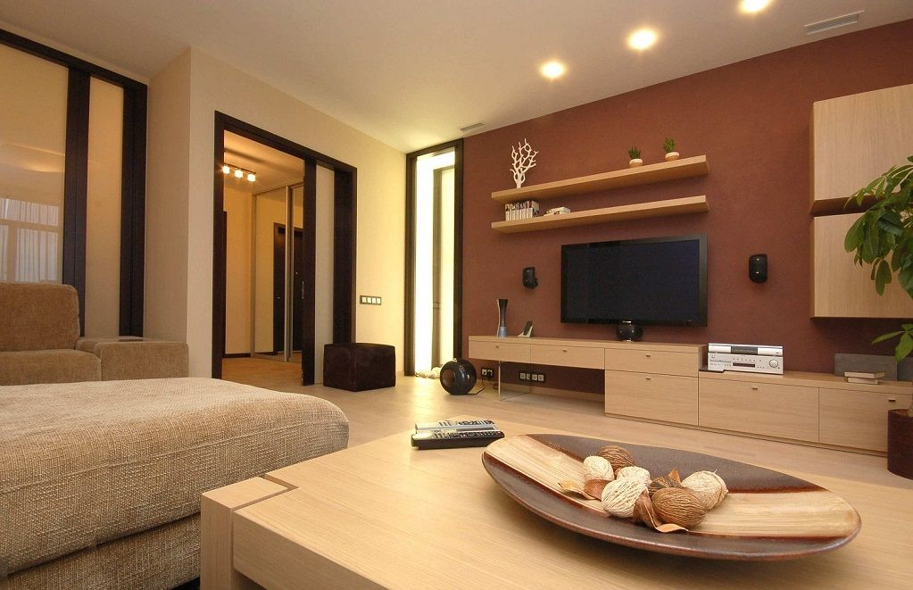 Pale brown wall cabinet lcd cabinet wooden shelves ipc334 lcd tv cabinet designs al habib - Designs of tv cabinets in living room ...
