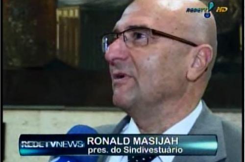 Pres. do Sindivestuario Ronald Masijah em entrevista para o Rede TV News   Sindivestuário