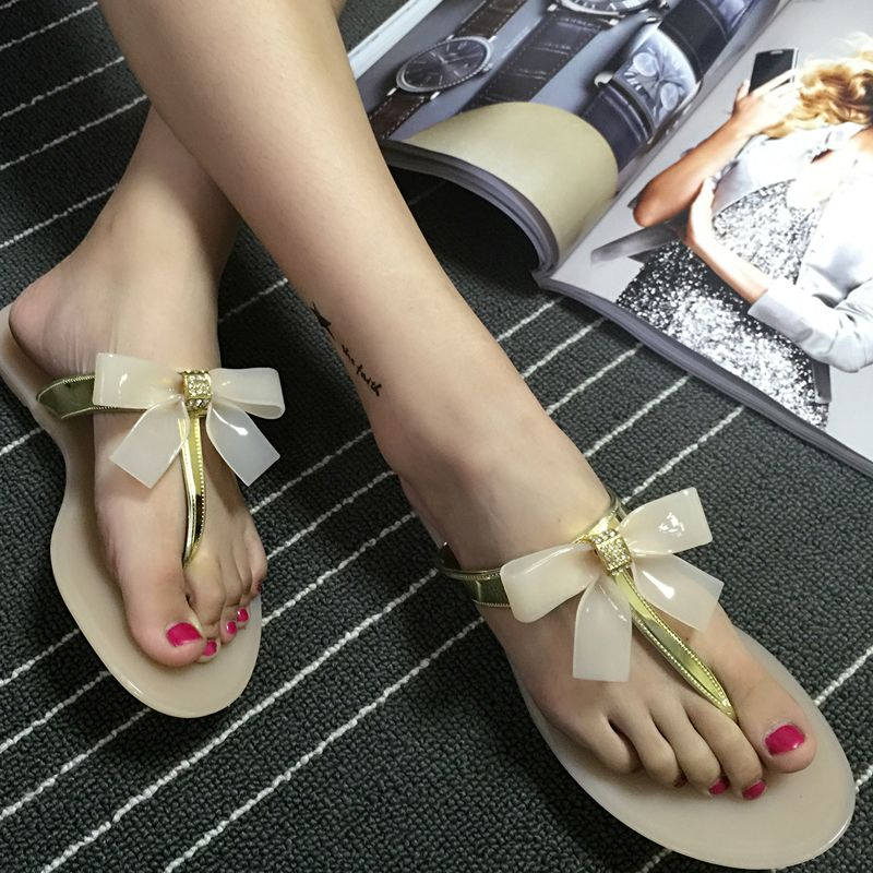 ee8f4c4f243a Fashion Women s Beach Flip Flops Ladies Toe Bow Diamante Jelly Summer Flat Flip  Flop Thong Sandals
