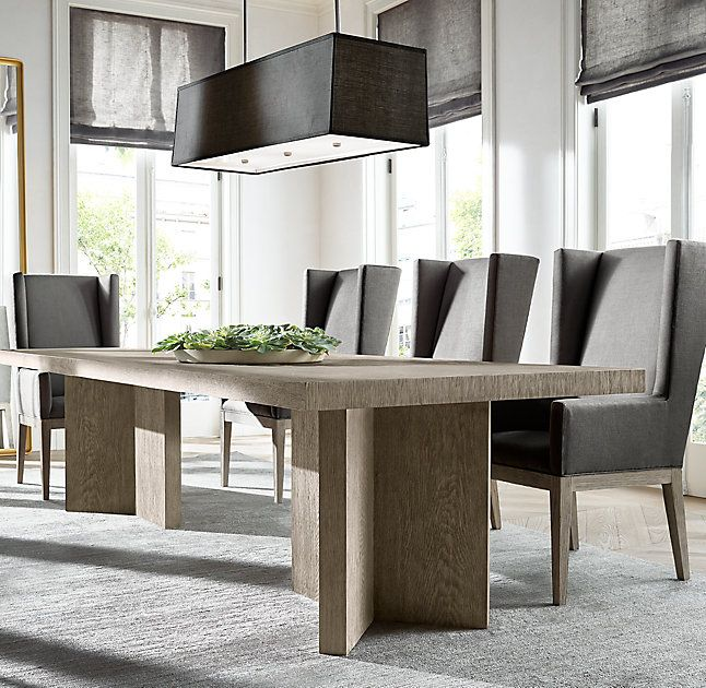 Rh S Ludlow Rectangular Dining Table Designed By Richard Forwood Our Takes Inspiration From 1970s European Brutalism An Architectural Style