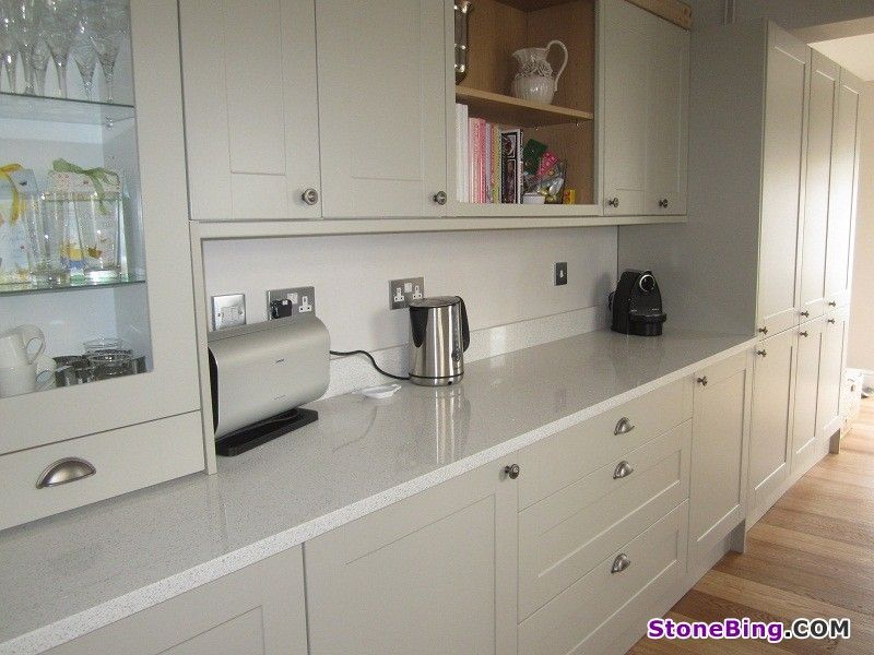 New White Kitchen Cabinets with White Quartz Countertops