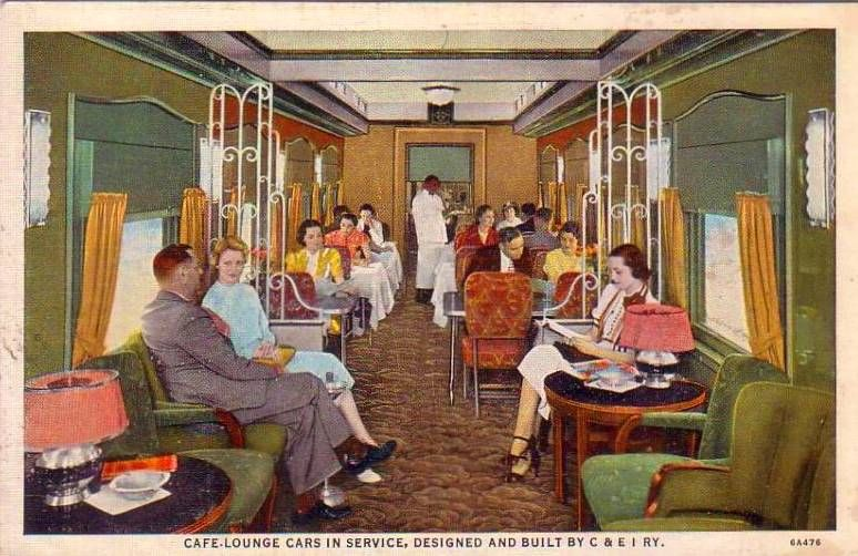 postcard chicago train c and e i cafe lounge car interior c 1950 train travel then now. Black Bedroom Furniture Sets. Home Design Ideas