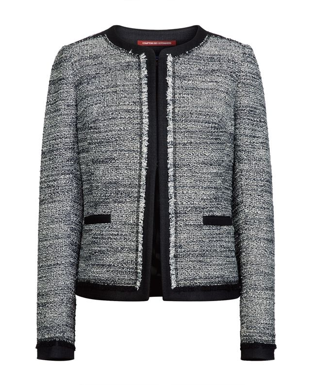 Veste femme en tweed vikea noir blanc comptoir des cotonniers acheter pinterest - Veste tweed comptoir des cotonniers ...