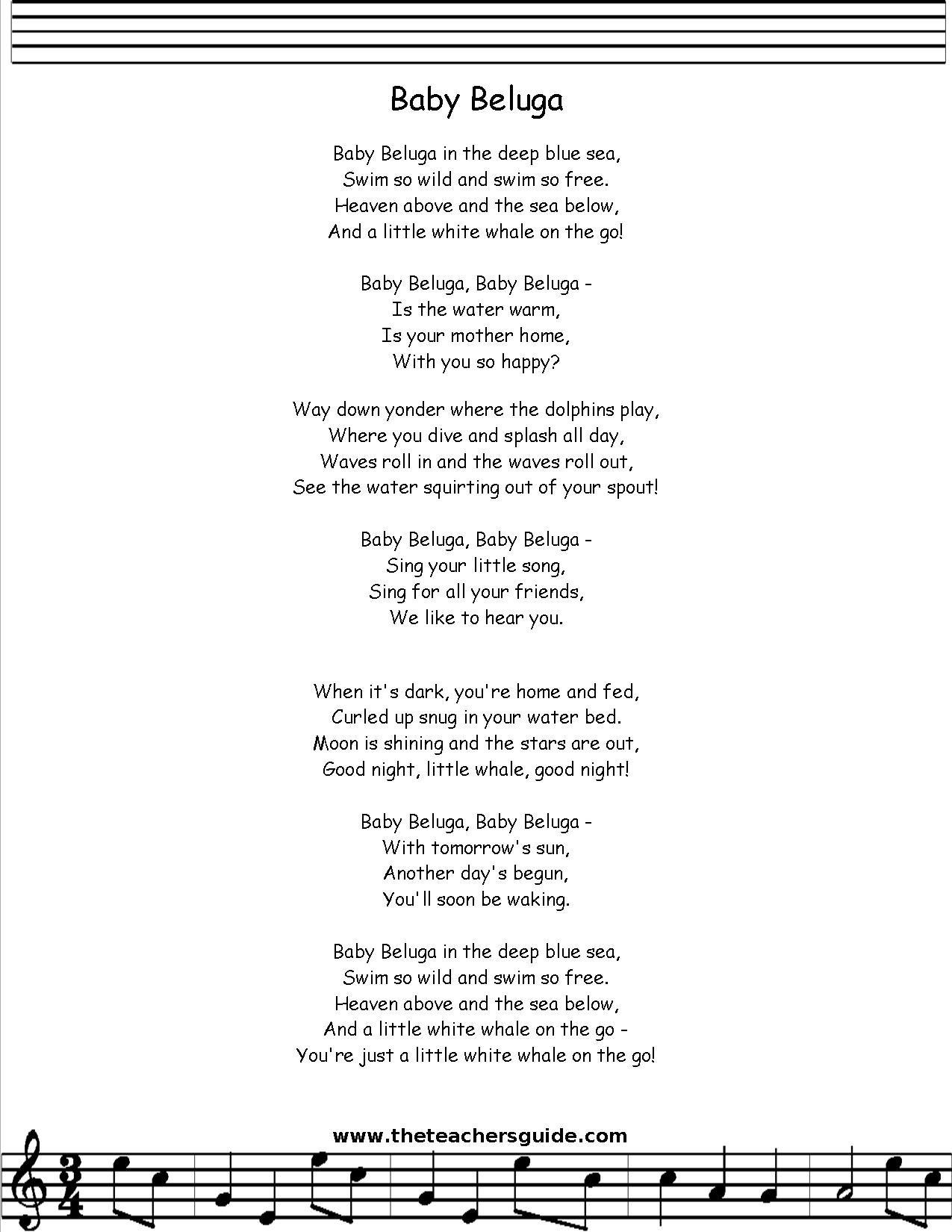 Baby Beluga Song Lyrics Google Search
