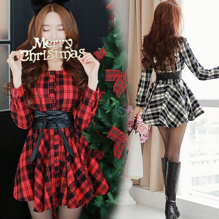 Cute sweet christmas princess grid dress SE2556 Harajuku fashion - clothing sponsorship