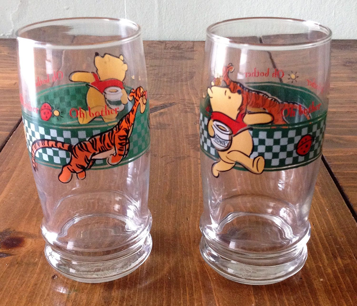 Oh Bother Winnie the Pooh & Tigger Anchor Hocking Glasses Kitchen Disney Beverage Tumblers Cups Drinkware Juice Coffee Tea Iced Kids prop by Piklandia on Etsy