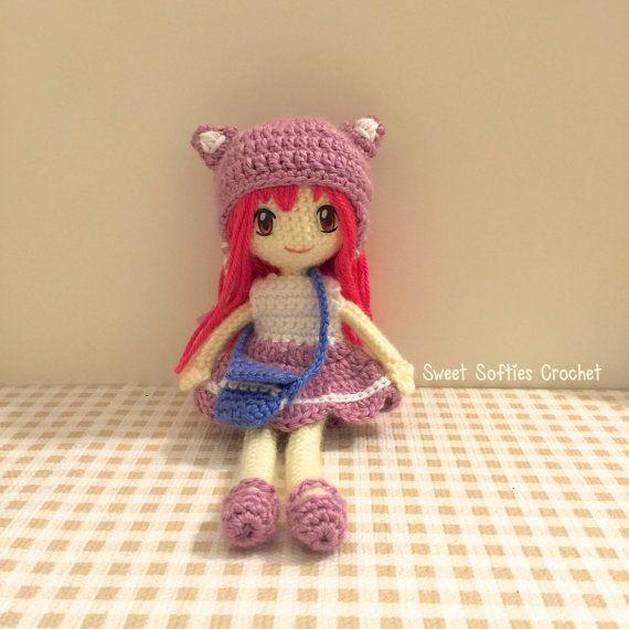 Nori - Amigurumi Crochet japonés Anime School Girl muñeca patrón, 2 ...