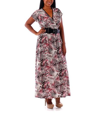 27238c7571b Love this Pink Jungle Belted Surplice Maxi Dress - Plus on  zulily!   zulilyfinds