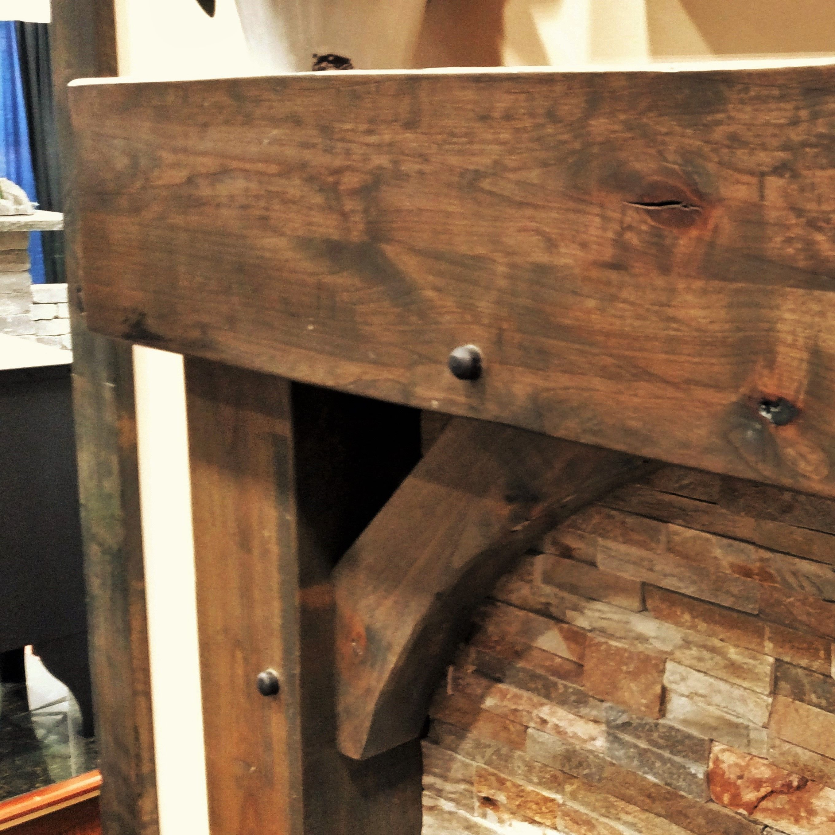 Custom Built Knotty Alder Beam Surround Detail