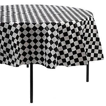 Choose This Black And White Checkered Round Table Cover For Your Next  Fifties Party! Each Plastic Black And White Checkerboard Tablecover Is 84  Incu2026
