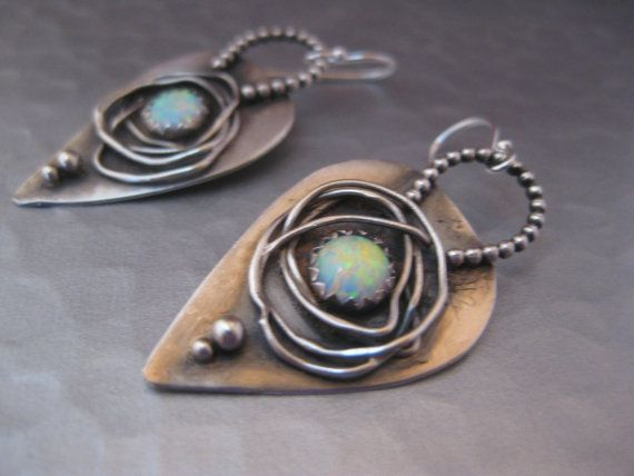 Earrings | StrawberryFrog Designs.  Sterling and oxidized sterling silver, with simulated opal.