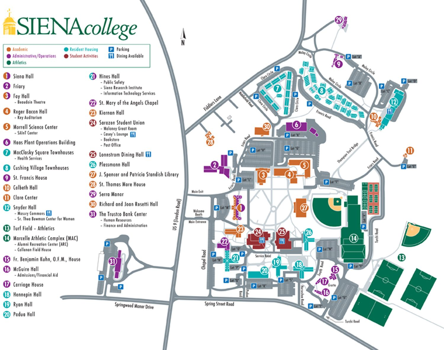 Siena College Map Campus Map | Siena College (New York) | campus | Campus map, Map  Siena College Map