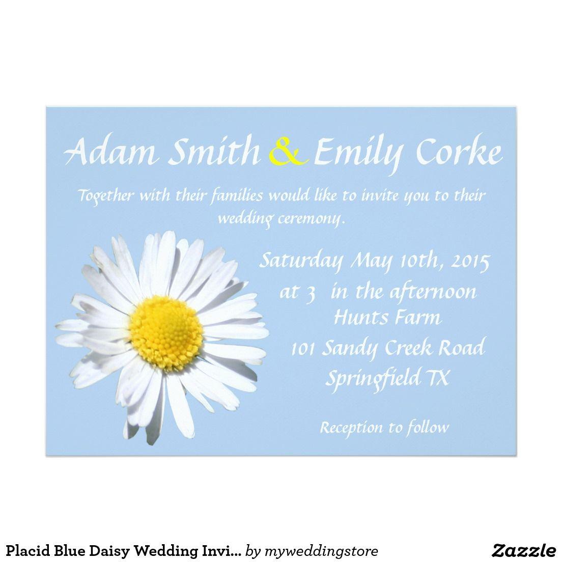 placid blue daisy wedding invitation daisy wedding zazzle
