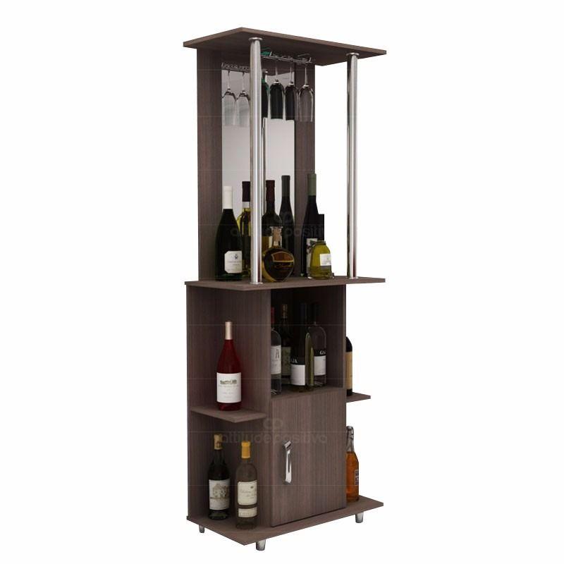Bar barsito con espejo puerta inferior y estantes 3 for Bar de madera mercadolibre