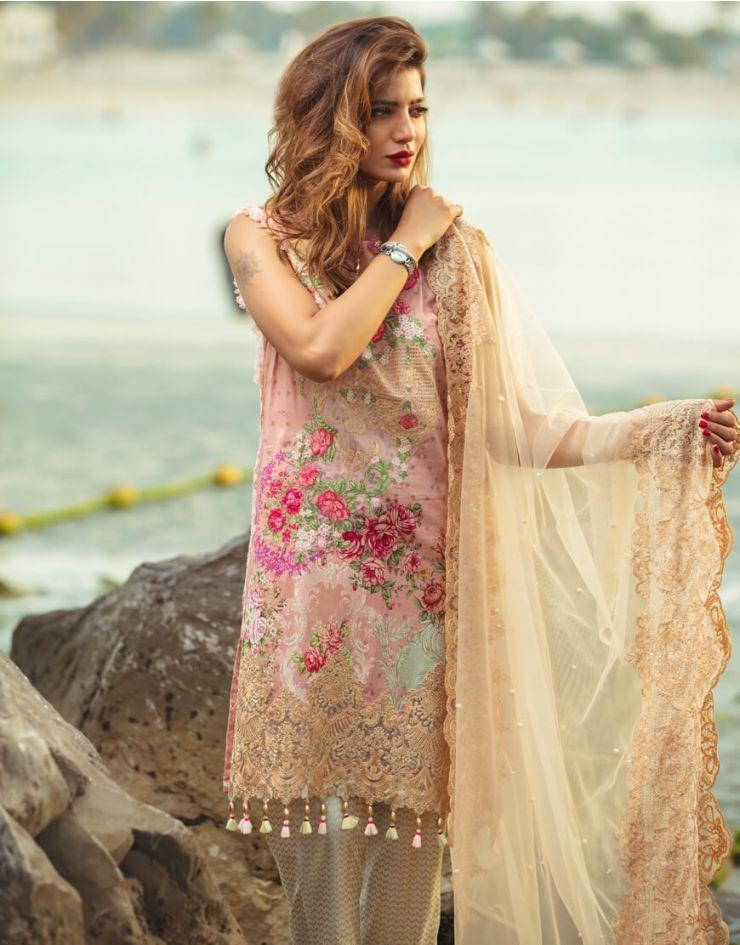 f98a1de7fc Embroidered Pink 3 piece unstitched pret dress by Rangrasiya Summer  collection #springcollection #spring #readytowear #pretwear #unstitched  #online #linen ...
