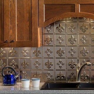 Fasade Fleur de Lis Brushed Nickel 18 in. x 24 in. Backsplash Panel ...