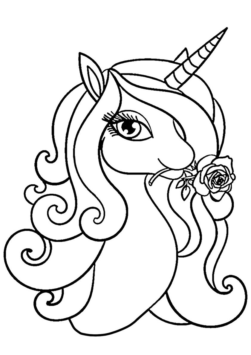 Delightful Rose With Images Unicorn Coloring Pages Horse