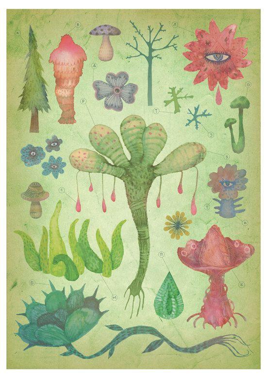 Botany Silent Observers  A4 giclee print by vladimirsart on Etsy, $27.00