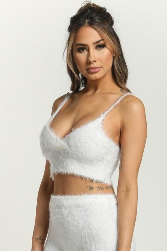 bf9a2a1b137 Off White Fuzzy Crop Top | Two Piece Looks | Pinterest | Crop tops ...