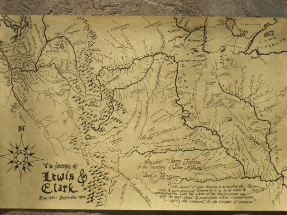 Map of Lewis and Clark's expedition on Etsy, $10.00