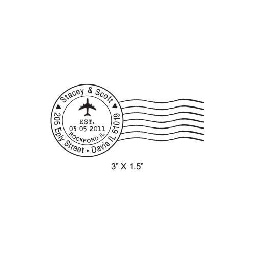 Airplane Post Mark Mail Art Custom Return Address Rubber