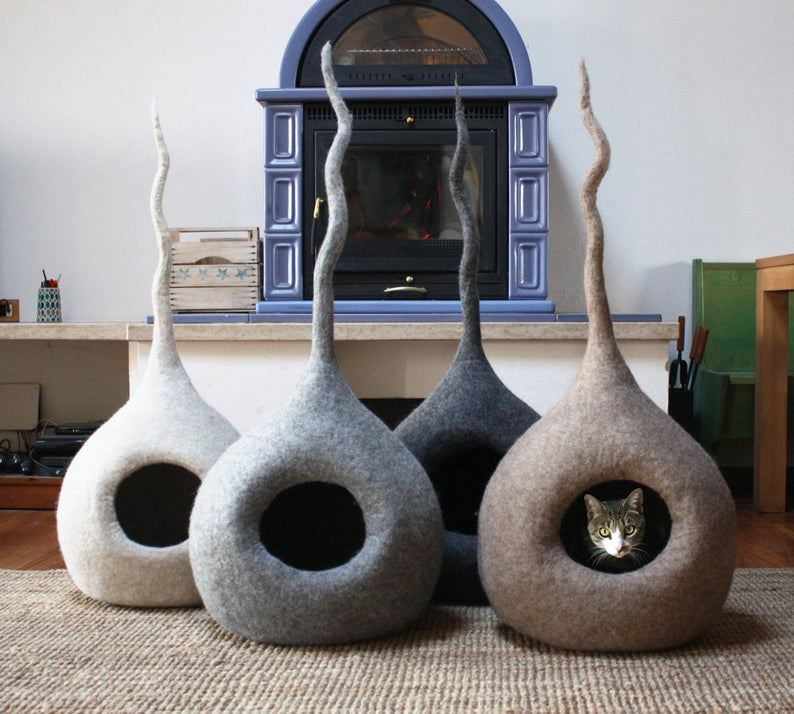 Cat Cave Bed, Cat Cave Felt Wool, Cat Lover Gift, Modern