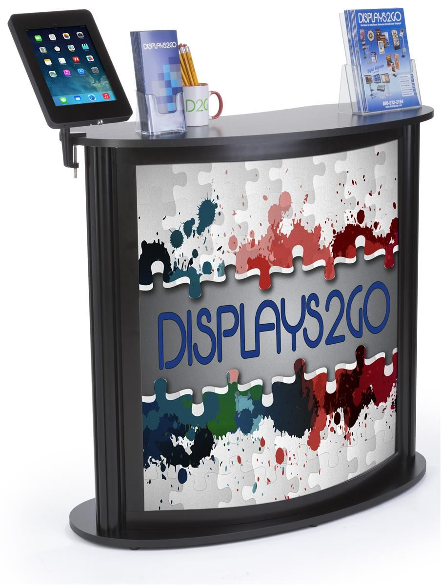 "41"" Tall Portable Counter w/ Clamp iPad Enclosure, Custom Graphic, Carry Bags…"