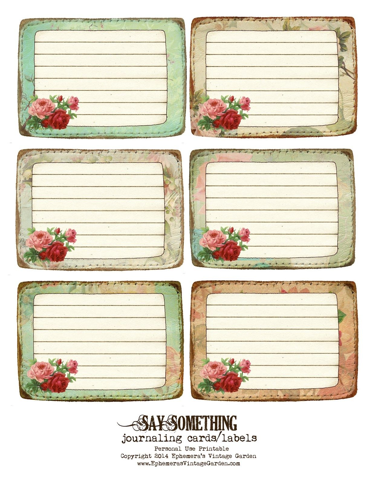 Ephemera\'s Vintage Garden: Free Printable - Stitched Journaling ...