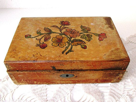 Antique Trinket Box with Insert Natural Rustic Wood Jewelry Box