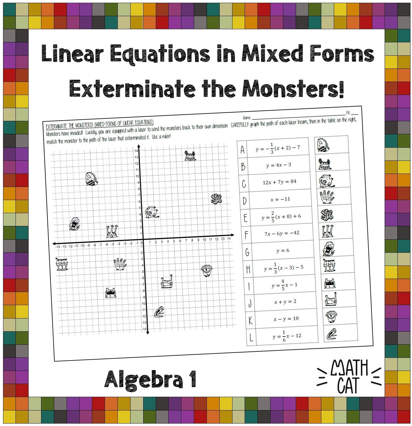 Exterminate The Monsters Graphing Linear Equations In Mixed Forms Graphing Linear Equations Graphing Activities Linear Function [ 1399 x 1354 Pixel ]