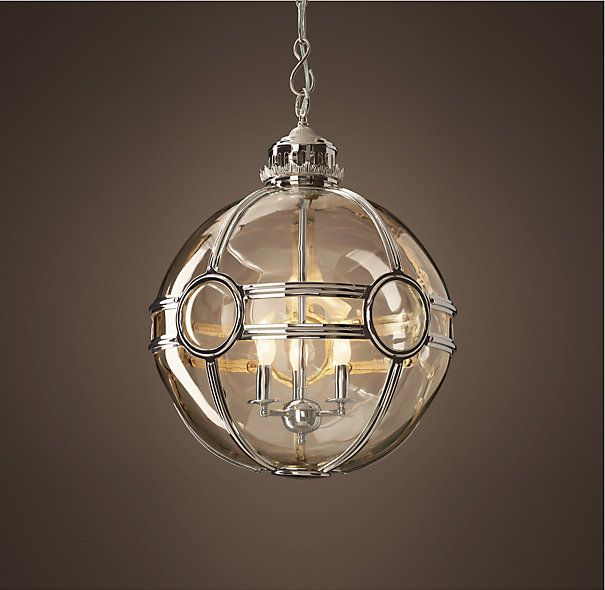 """Restoration Hardware Discontinued Lighting: 19Th C. Victorian Globe Pendant Polished Nickel 20"""" From"""