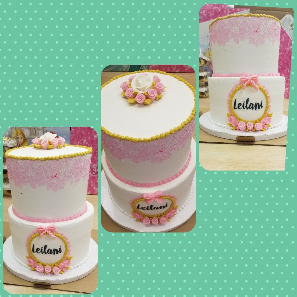 Two teired 1st birthday cake for girl (With images) 1st