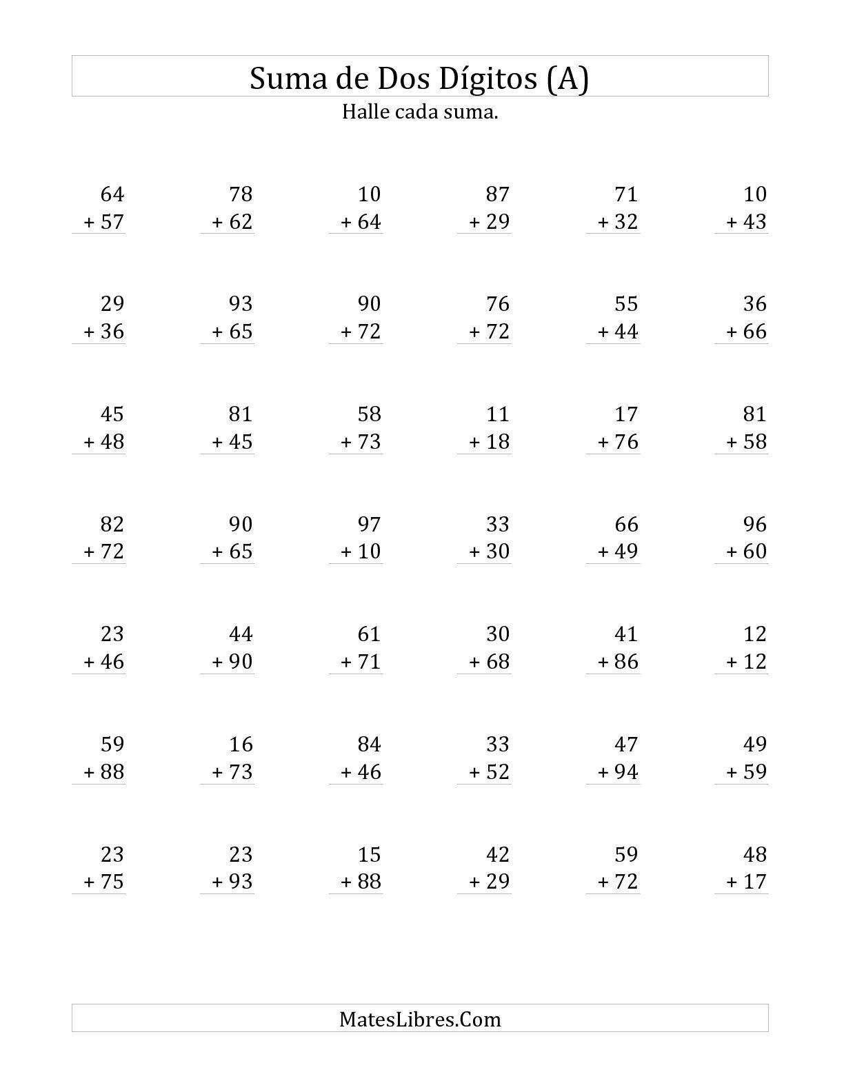 La hoja de ejercicios de Suma de Dos Dígitos con alguna Reagrupación ...