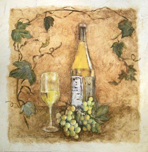 Charlene-Olson-A-Glass-of-Chardonnay-Fertig-Bild-30x30-Wandbild - wandbilder für die küche