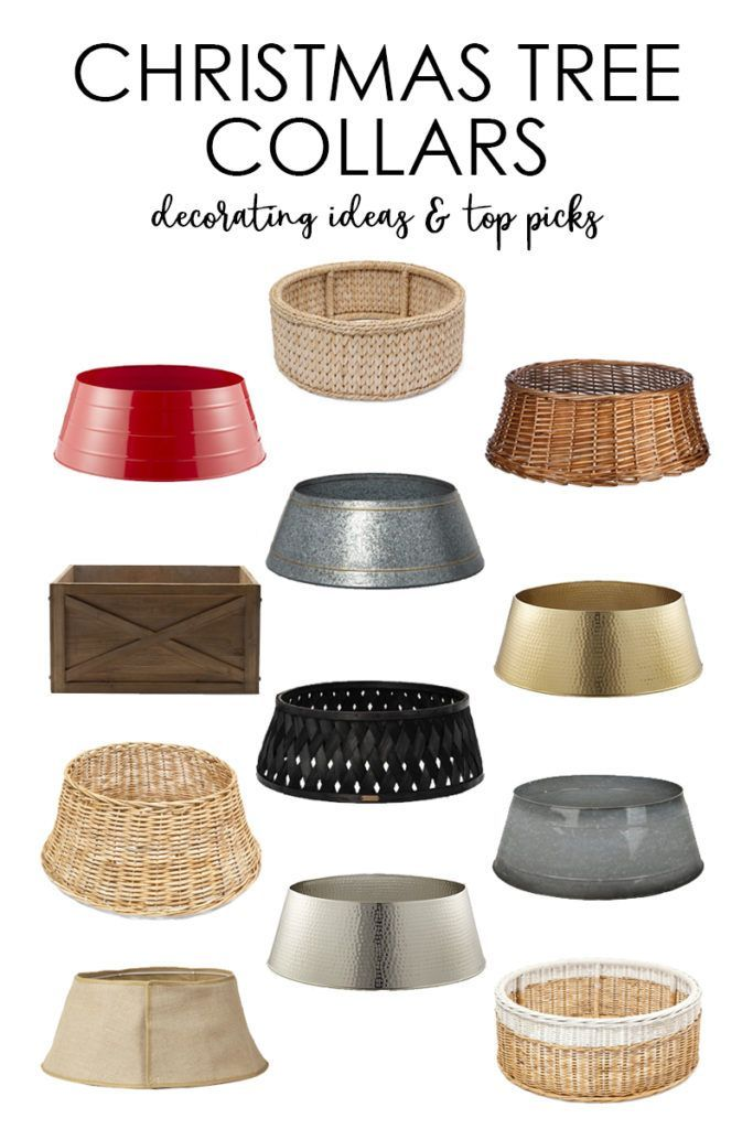 A collection of more than 20 Christmas tree collar ideas and my top picks! So many gorgeous options from ones that look like baskets to hammered gold to burlap and more! A great alternative to a Christmas tree skirt! #christmasdecor #christmasdecorations