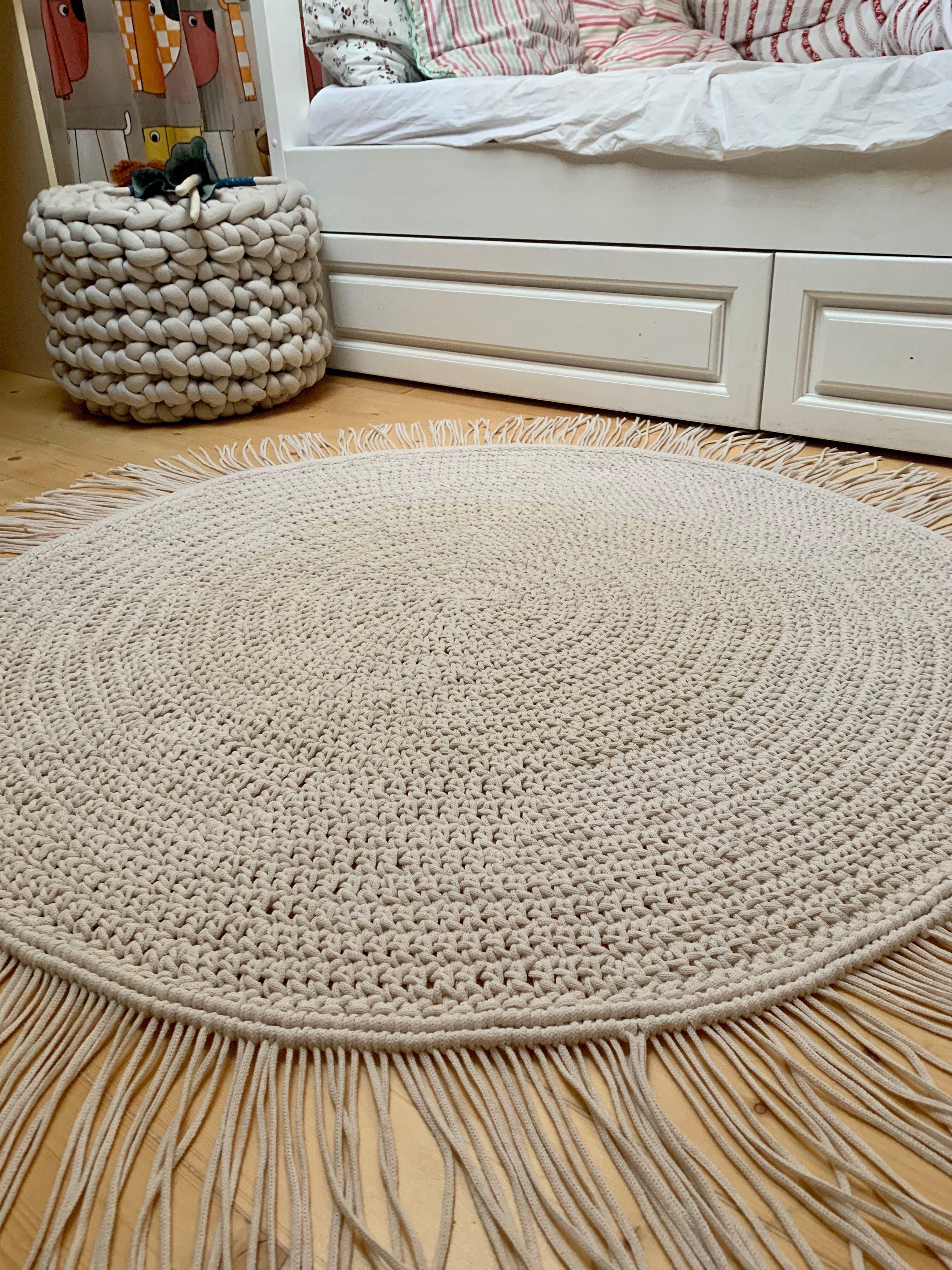 Macrame Rug Crochet Rug Round Crochet Rug Pattern Crochet Rag Rug Nursery Rug Wicker Carpet Easy Crochet Pattern Carpet Cosy Room Gift In 2020 Childrens Room Rugs Rugs Bohemian Bedroom Design