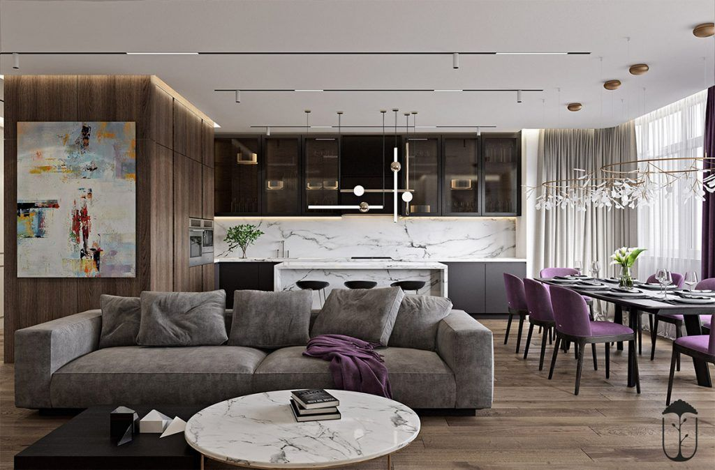 A Cozy Modern Home With White Marble And Purple Accents Modern House Design Home House Design