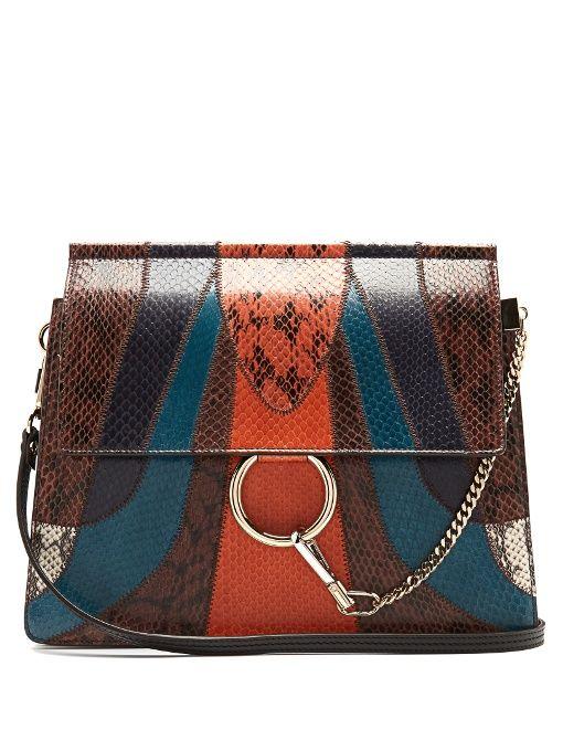 ec33bc638851b9 GABRIELLE'S AMAZING FANTASY CLOSET | Chloé Faye medium snakeskin and leather  shoulder bag