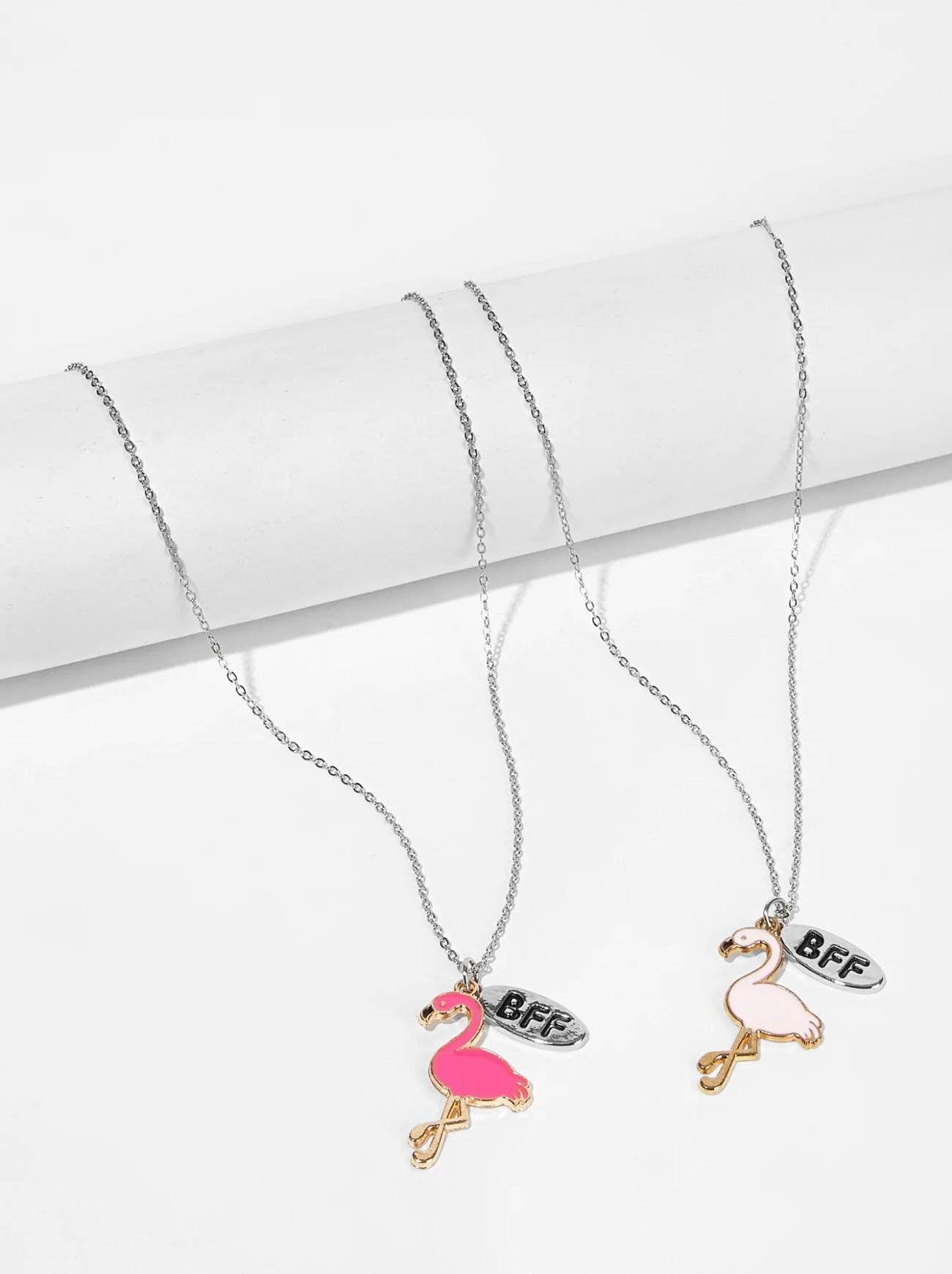 58e25287cd $3 - Girls Flamingo Pendant Necklace Set 2 PCs - Kids Jewelry #kids #jewelry