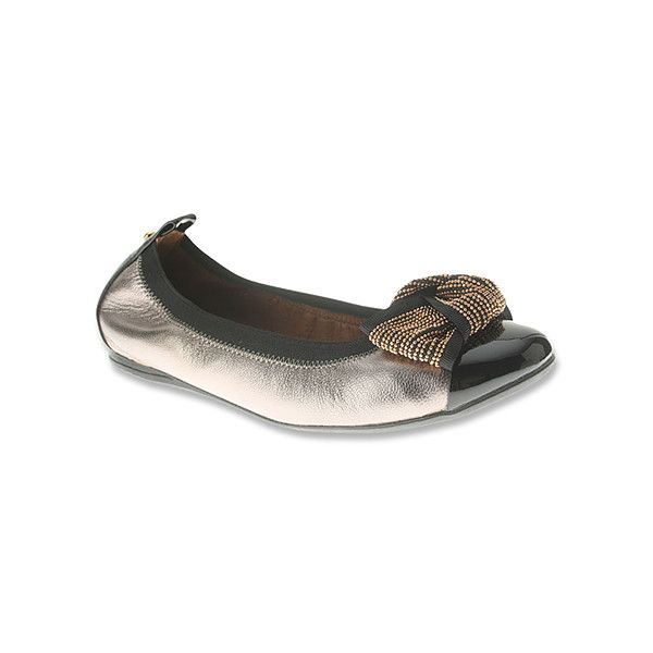 Womens Leather Flats Azura Pewter Dewdrop